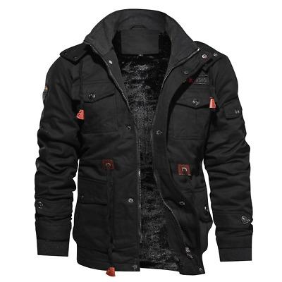 Fashion Mens Winter Fleece Warm Hooded Multi Pockets Casual Cotton .