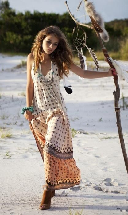 Boho chic style, modern hippie fashion, flowing print dress at the .