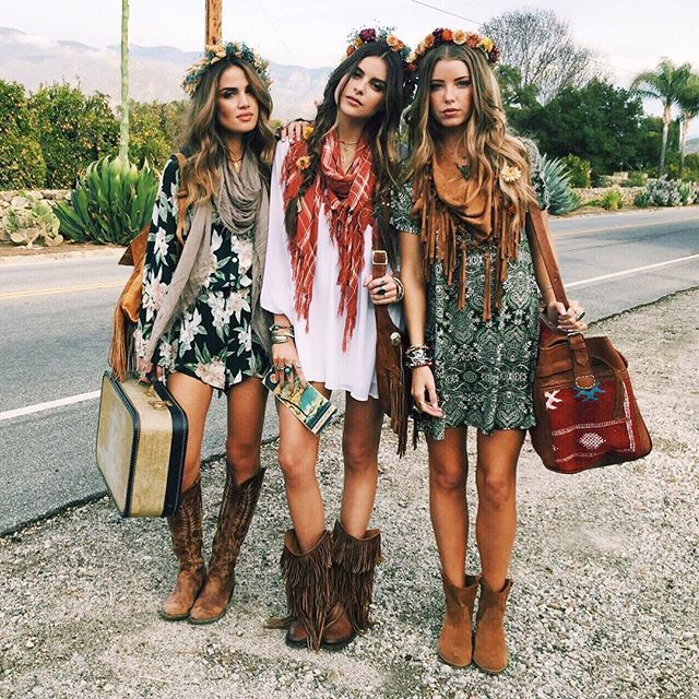 Modern hippie gypsies with boho chic scarves and cowboy boots. For .