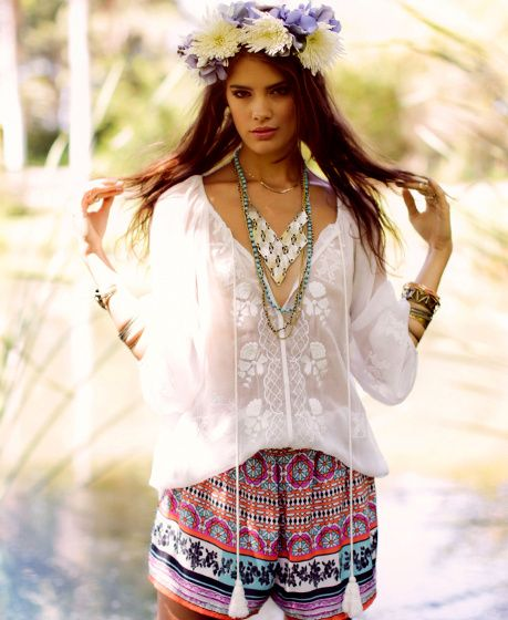 Boho chic white top with gypsy style necklace & modern hippie .