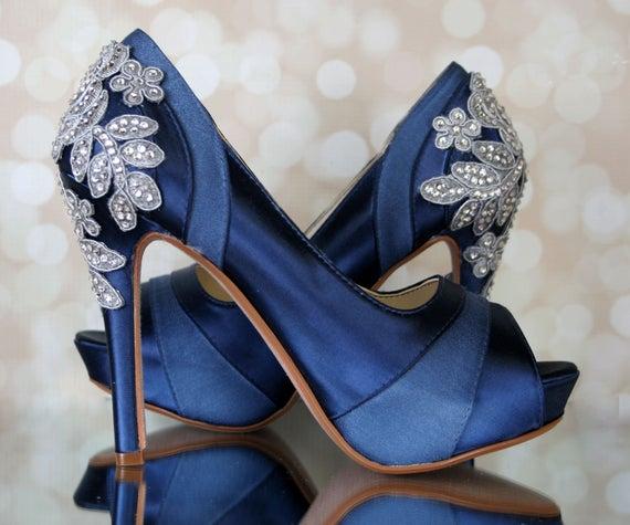 Wedding Shoes Navy Blue Wedding Shoes Bridal Heels Custom | Et