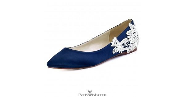 Round Toe Navy Blue Flat Evening Wedding Shoes Onli