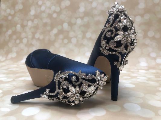 Navy Blue Bridal Shoes with Crystal Back Design – Custom Wedding .