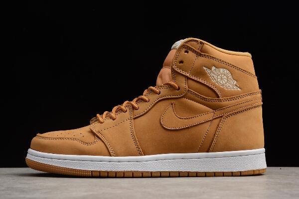 "Nike Air Jordan 1 Retro High OG ""Wheat"" Khaki Beig White Shoes ."