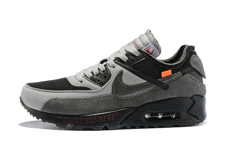 Hot Selling OFF-WHITE x Nike Air Max 90 Wolf Grey Black Men's .