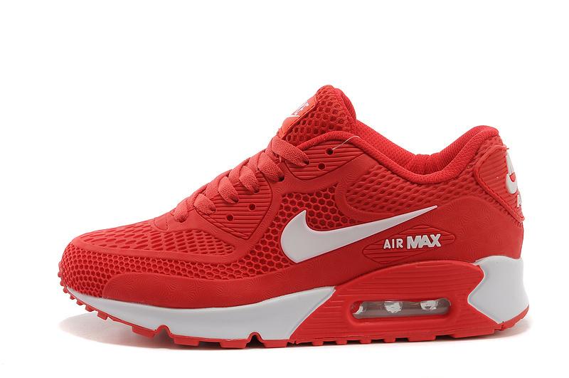 Nike Air Max 90 Red White Men's Running Shoes - NikeShoesZone.c