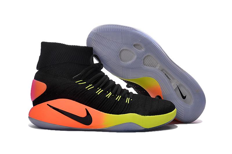 Nike Hyperdunk Flyknit 2016 Basketball Shoes in Black Orange Green .