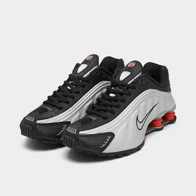 Nike Shox R4 Casual Shoes Black / Metallic Silver / Red Sz 10 .
