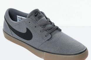 Nike SB Portmore II Dark Grey & Gum Canvas Skate Shoes | Zumi