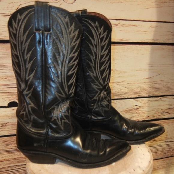 Nocona Shoes | Womens Vintage Black Leather Cowboy Boots 5 | Poshma