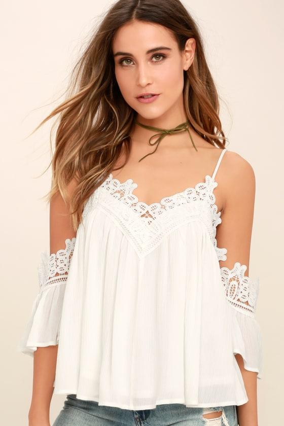 Boho White Lace Top - Off-the-Shoulder Top - Crochet T