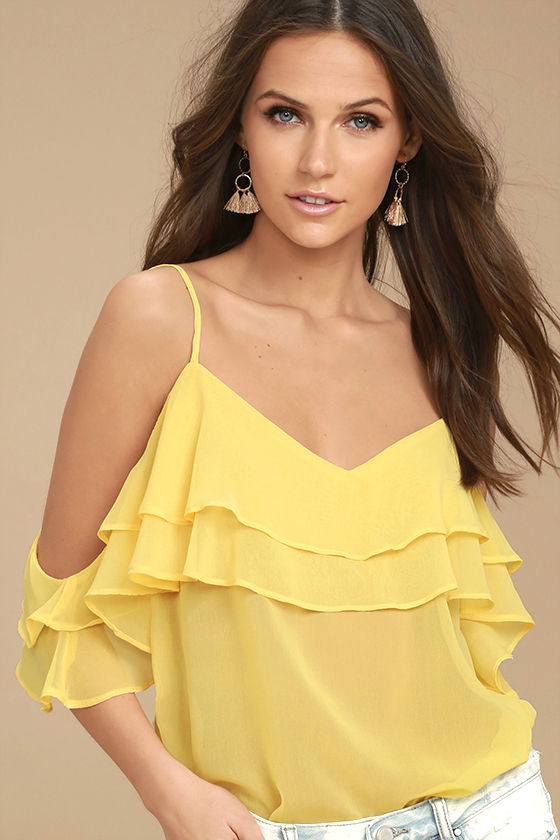 Cute Yellow Top - Off-the-Shoulder Top - Ruffled Blouse - $38.
