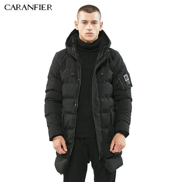 CARANFIER High Quality Parka Men Winter Long Jacket Men Thick Cotton