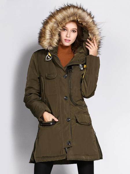 Zipper Cold Weather Thick Ladies Parka Coats with Fur Hoo