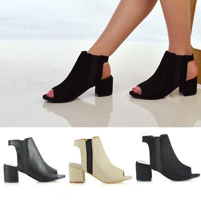 Womens Low Heel Peep Toe Shoes Ladies Open Back Ankle Chelsea .