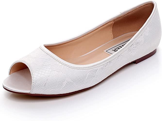 Amazon.com | LUXVEER Ivory Wedding Flats, Peep Toe Bridal Shoes .