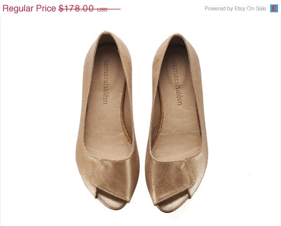 SUMMER SALE Aya, Peep Toes, Brides Shoes, Wedding, Gold Shoes .