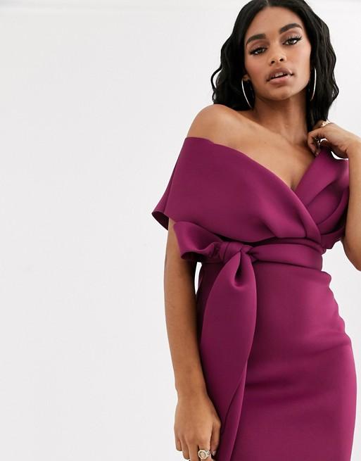 ASOS DESIGN fallen shoulder midi pencil dress with tie detail | AS