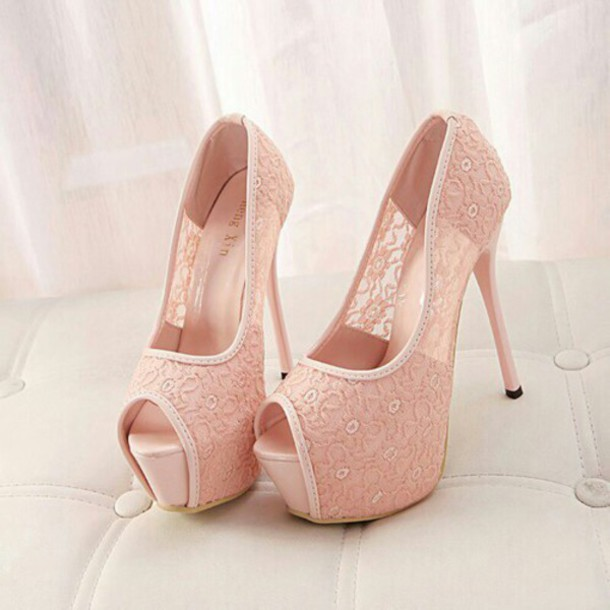 shoes, baby pink, shoes, heels, high heels, girl, women, female .