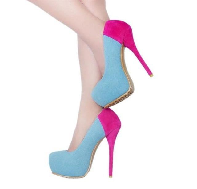 Fashion Pink Heels Pumps Women Shoes Round Toe Blue Denim High .