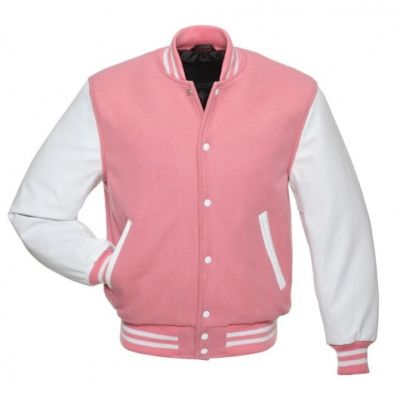 Pink Letterman Jacket with White Leather Sleev