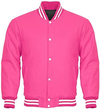 Letterman Varsity Jacket Full Wool Pink White at Amazon Men's .