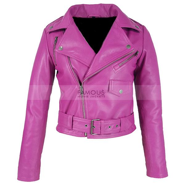 Jessica Alba Hot Pink Leather Jacket - Designer Leather Jackets .