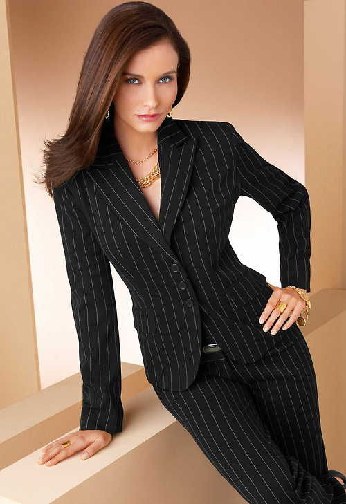 Women's Pinstripe Business Suit. Dress for success for work or the .