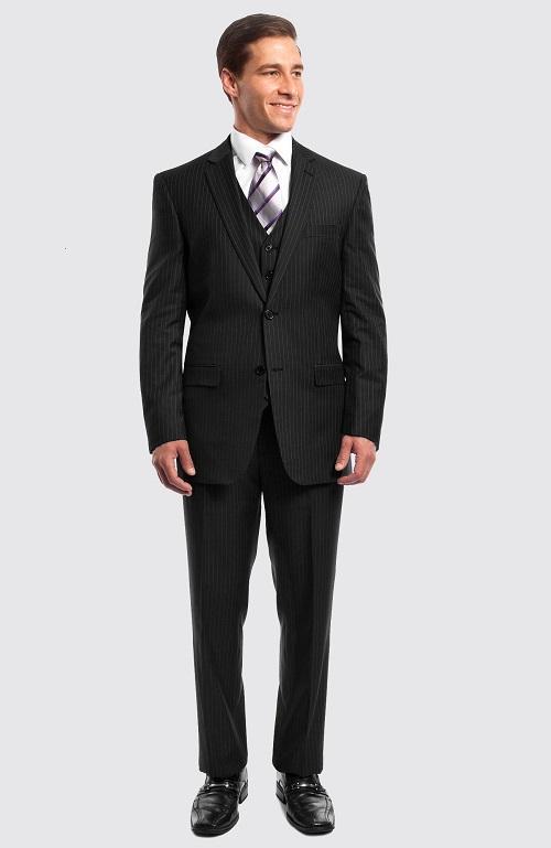 Men's Black Pinstripe Suit 3 Piece Modern Fit with Vested Stripe .