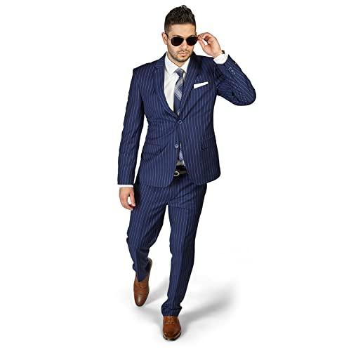 Blue Pinstripe Suit: Amazon.c