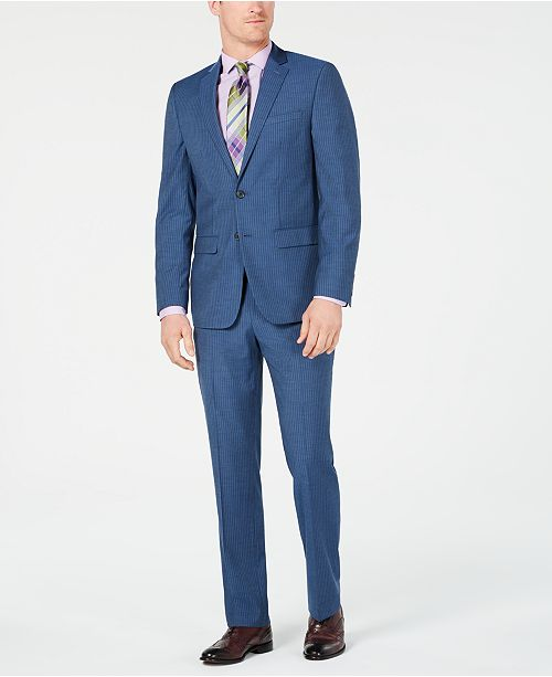 Van Heusen Men's Slim-Fit Flex Stretch Wrinkle-Resistant Blue .