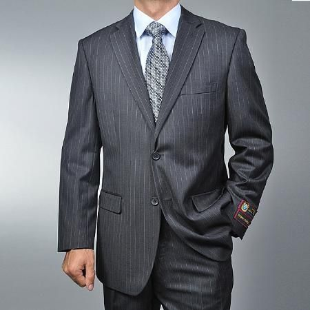 SKU#WE4410 Men's Charcoal Grey Pinstripe 2-button Suit $89 Mens .