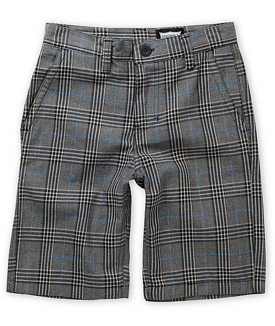 Free World Burbank Black, Blue & Grey Plaid Shorts | Zumi