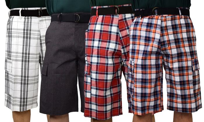 Up To 46% Off on Men's Cotton Plaid Cargo Shorts | Groupon Goo