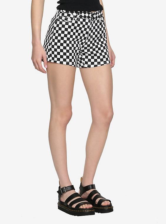 Blackheart Black & White Checkered Skinny Shor