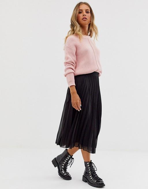 ASOS DESIGN pleated midi skirt in black | AS