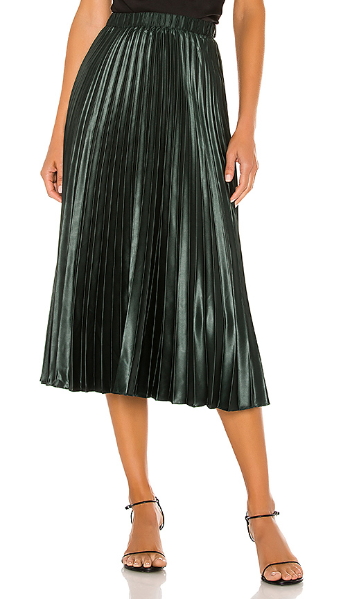 1. STATE Matte Satin Pleated Midi Skirt in Deep Forest | REVOL