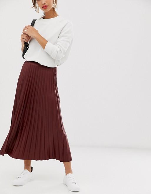 ASOS DESIGN leather look pleated midi skirt | AS