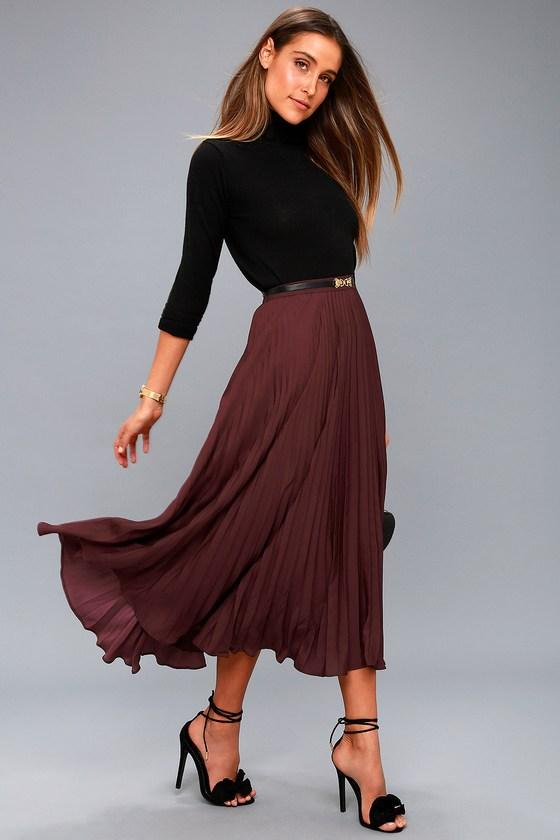Chic Plum Purple Skirt - Pleated Skirt - Midi Ski