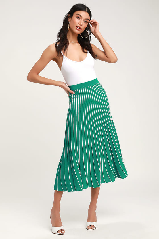 Cute Green Skirt - Green Pleated Midi Skirt - Green Striped Ski