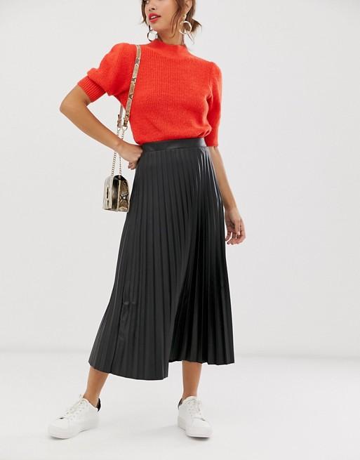 ASOS DESIGN leather look pleated midi skirt in black | AS