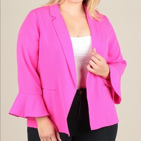 Haus of Rae Jackets & Coats | Pink Plus Size Blazer | Poshma