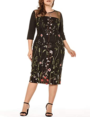 Lover-Beauty Women's Plus Size Dress V-Neck Slimming Evening Party .