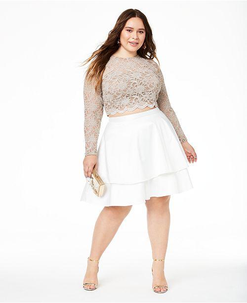 City Studios Trendy Plus Size 2-Pc. Lace Fit & Flare Dress .