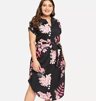 Simple Design Flora Black Curved Hem Women Long Shirt Dresses Plus .