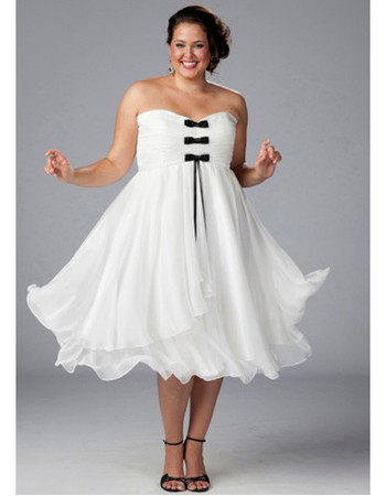 Inexpensive Casual A-Line Sweetheart Knee Length Chiffon Plus Size .