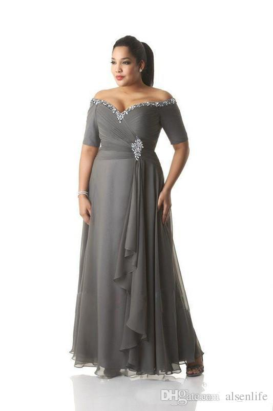 Grey Mother Of The Bride Dresses Plus Size Off The Shoulder Cheap .