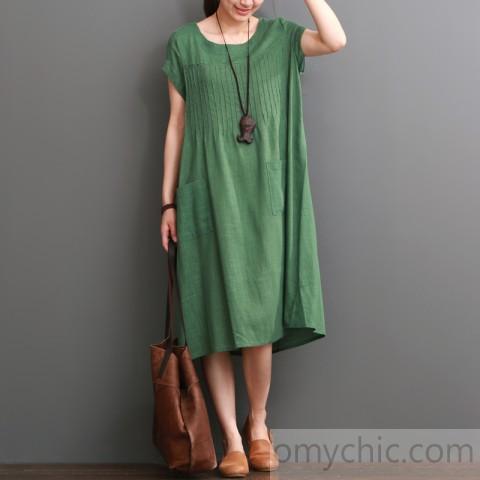 Green summer cotton dress plus size cotton maxi dress
