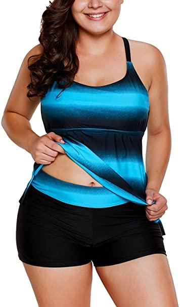 Gloria&Sarah Plus Size Bathing Suits for Women Color Block Striped .