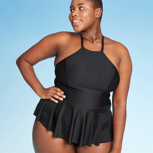 Women's Plus Size Halter-Peplum Tankini Top - Black - Sea Angel .
